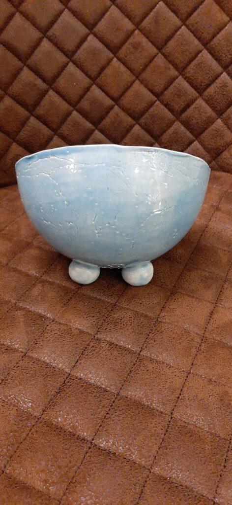 Schüssel, originelles Einzelstück, Keramik, ungewöhnliche Form, Schale in transparentem azurblau, KeraMik von Herz zu Herz, feines für den Tisch