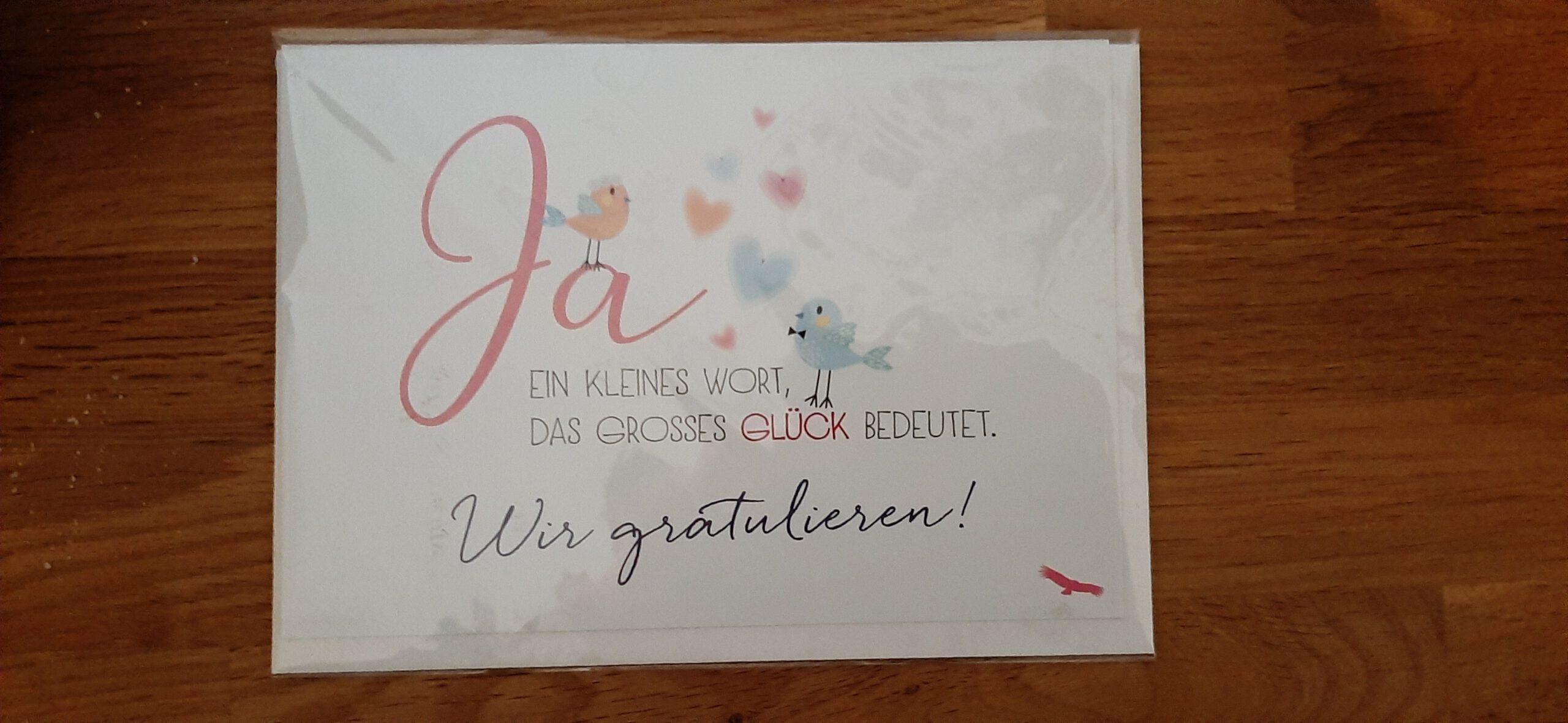 Karten, Augsburg, zur Hochzeit