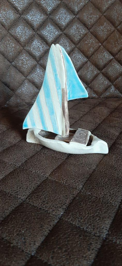 Segelboot, Keramik Schiff, Mac die Tonkünstlerin, Augsburg, KeraMik von Herz zu Herz, Handarbeit