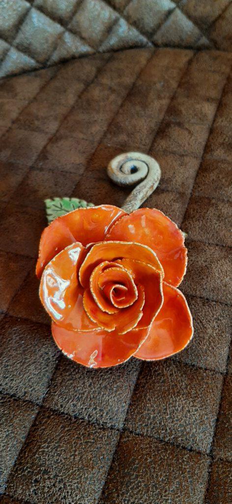 orangefarbige Rose, Clay Art, Handarbeit, Keramik, KeraMik von Herz zu Herz, Augsburg