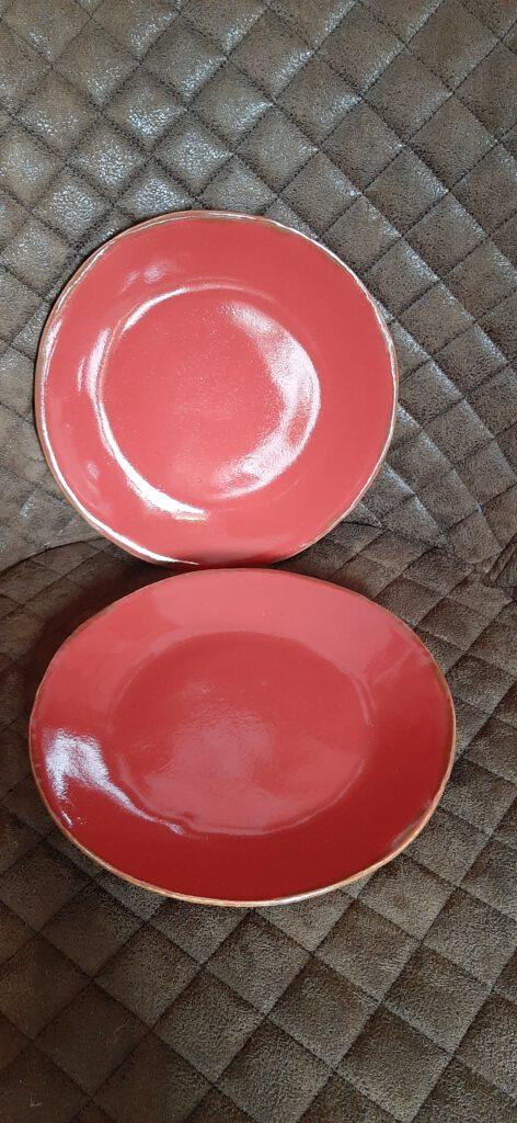 rote Teller, Keramik Geschirr, KeraMik von Herz zu Herz, Augsburg, Handarbeit, Einzelstücke