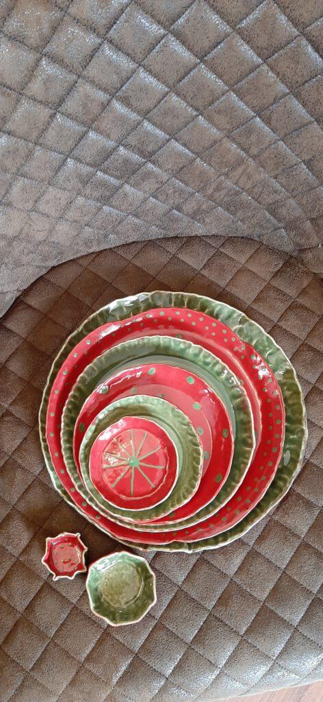 Tellerset, Handarbeit, Keramik, KeraMik von Herz zu Herz, Unikate, Geschenke, Augsburg
