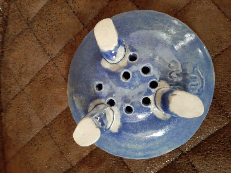 runde Seifenablage in blau, Handarbeit von Einzelstücken, Keramik, KeraMik von Herz zu Herz, Geschenke, in Augsburg