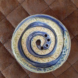 runde Seifenablage in hellgrün/blau, Handarbeit von Einzelstücken, Keramik, KeraMik von Herz zu Herz, Geschenke, in Augsburg