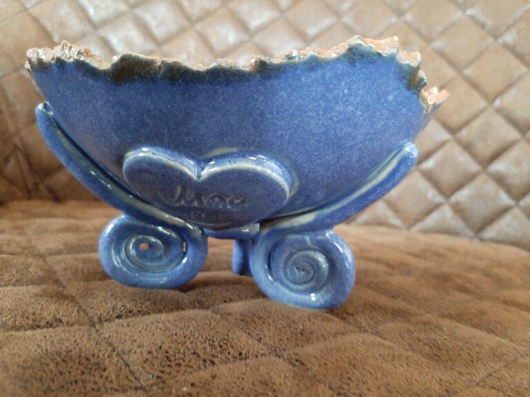 Keramik Schale in blau/weiß, Handarbeit, Kunst aus Ton, im Herzen von Augsburg, KeraMik von Herz zu Herz, Clayartist, Geschenke von Hand gemacht, Raritäten